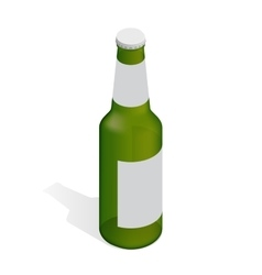 Bottle of beer with drops Flat 3d isometric vector image