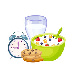 breakfast meal with milk cereals and clock set vector image vector image