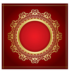 Bright gold ornamental frame with transparent vector