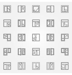 Broken windows icon set vector