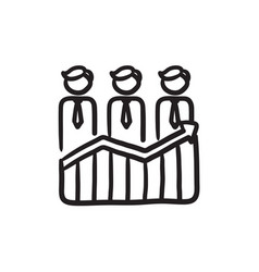Businessmen standing on profit graph sketch icon vector