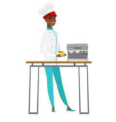 Chef cook making coffee vector