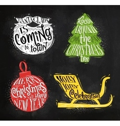 Christmas silhouettes ball chalk vector
