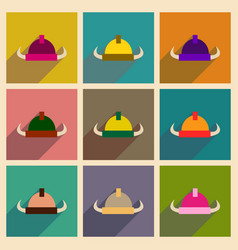 Concept of flat icons with long shadow viking vector