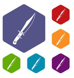 Dagger icons set hexagon vector