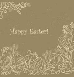 Easter plants frame grange vector
