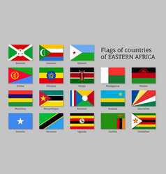 Eastern africa flags flat icons set vector