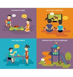 Family with concept flat icons set vector image