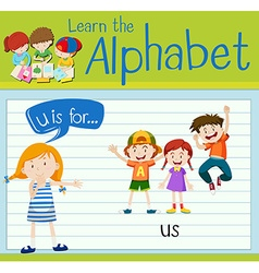Flashcard letter U is for us vector image vector image