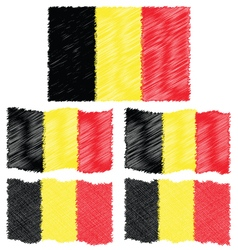 Flat and waving hand draw sketch flag of belgium vector
