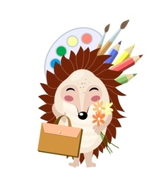 Funny cartoon red hedgehog going to school vector image vector image
