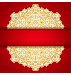 Gold and red round ornament invitation pattern vector image vector image