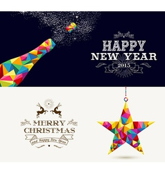 Happy new year and merry christmas holidays vector