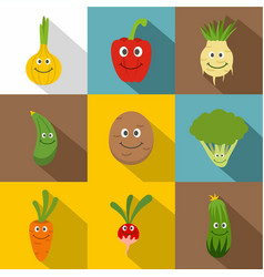 happy smiling vegetables icons set flat style vector image