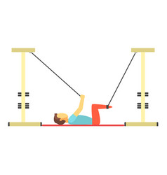 man doing exercises using special ropes for vector image vector image