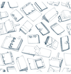 monochrome seamless pattern with notepads vector image