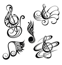 Music notes design elements set vector