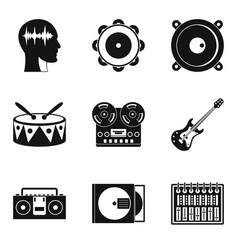 music plate icons set simple style vector image