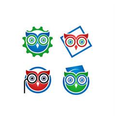 owl book logo vector image vector image