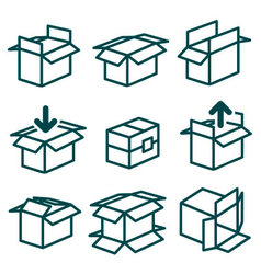 Packing and boxes in various types vector image vector image