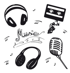 Retro music objects vector image vector image