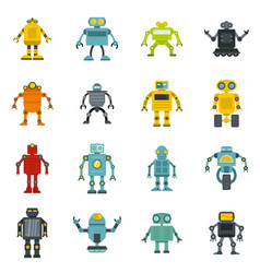 Robot icons set in flat style vector
