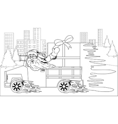 Santa claus driving car with christmas gift vector