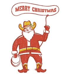 Santa claus in coywboy boots twirling a lasso vector