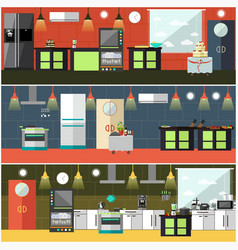 set of restaurant kitchen interior posters vector image vector image