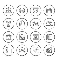 set round line icons of roof vector image