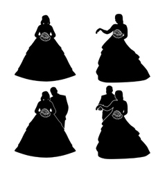 Silhouettes of the bride and groom with a bouquet vector