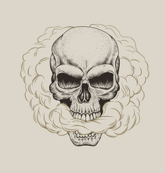 skull breathes the smoke vector image