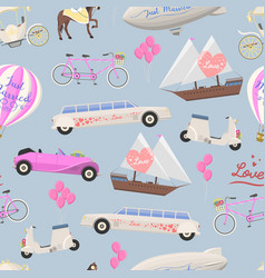 Wedding fashion transportation seamless vector