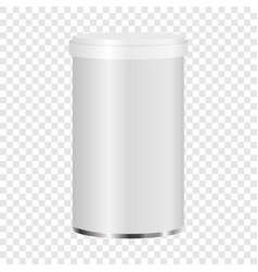 White plastic jar mockup realistic style vector