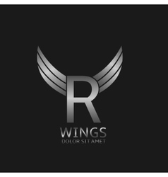 Wings R letter logo vector image