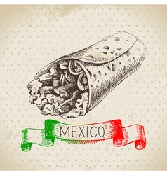 Mexican traditional food background with burrito vector