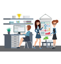 Business professional women work the team office vector