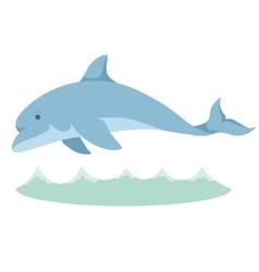 Cartoon graceful blue dolphin with a vector