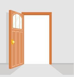Open door house background flat design isolated vector
