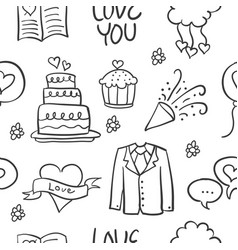 art of weding doodles style vector image