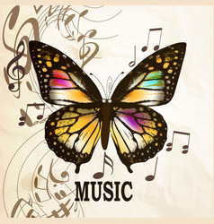 Music background with butterfly and notes vector