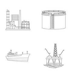 Oil refinery tank tanker tower oil set vector