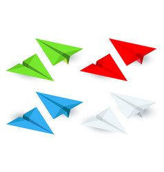 Isometric paper planes icon set in simple flat vector