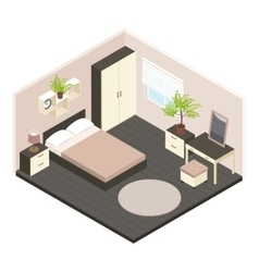 3d Isometric Bedroom Interior vector image