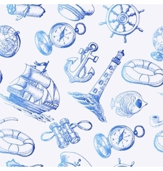 Seamless pattern with sea adventure elements in vector