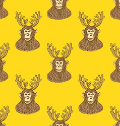 Sketch monkey with reindeer antlers vector