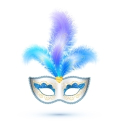White carnival mask with blue feathers and golden vector