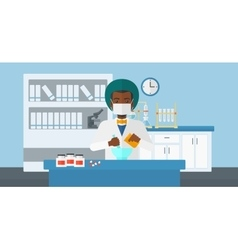 Pharmacist preparing medicine vector