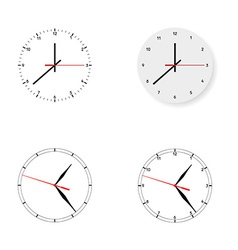 Set of 4 modern watches black round dials on white vector
