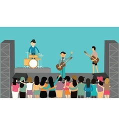 Music concert performance flat fun playing vector
